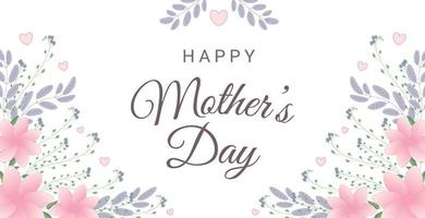 gelukkige moederdag wenskaart met bloemen en harten. perfect voor wenskaarten, websites, banners of tags. vector illustratie.