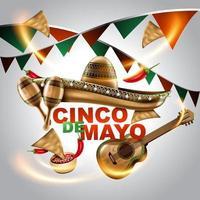 cinco de mayo mexicaanse vakantie. sombrerohoed, maracas en taco's en feestelijk eten met kleuren van de vlag van mexico. vector illustratie.