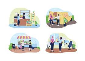 bloemenwinkel en bezorgservice 2d vector webbanner, poster set