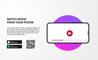 online bioscoop-, film- of filmseries streamen vanaf videoweergave op app-telefoonscherm met bestemmingspagina voor downloaden vector