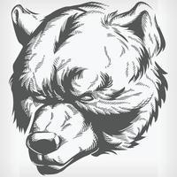 silhouet bruine grizzly beer hoofd stencil vooraanzicht vector tekening