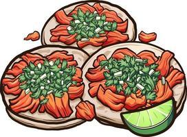 Mexicaanse cartoon taco's al pastor met uien en koriander. vector clip art afbeelding met eenvoudig verlopen.