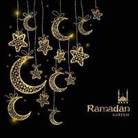 ramadan kareem viering wenskaart versierd met manen en sterren op donkere achtergrond. vector
