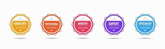 set van badgecertificaten voor bedrijfstraining om te bepalen op basis van criteria. vectorillustratie gecertificeerd logo geometrisch ontwerp. vector