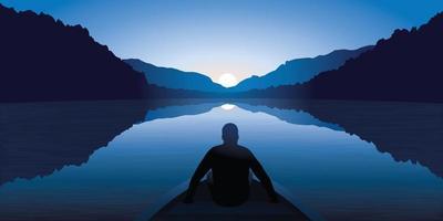 een man mediteert op een meer omgeven door bergen vector