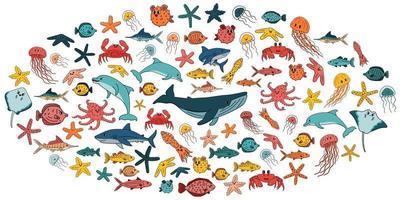 grote reeks van vector cartoon overzicht geïsoleerde zee oceaan dieren. doodle handgetekende walvis, dolfijn, haai, pijlstaartrog, kwal, vis, sterren, krab, octopus voor kinderboek, ovale vorm, witte achtergrond
