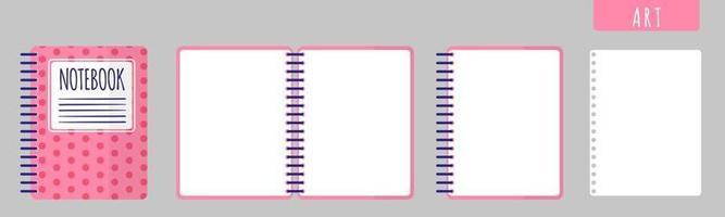 cartoon vectorillustratie met kunst notebook, notitieblok openen en blanco vellen op witte achtergrond. vector