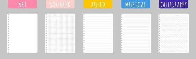 set van cartoon vectorillustraties met schone notebookvellen op witte achtergrond. vector