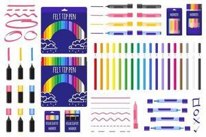 set van cartoon vectorillustraties met gekleurde markeringen en viltstiften op witte achtergrond. vector