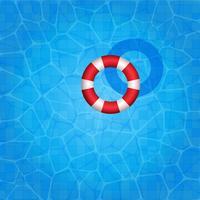 Zwembad met rubberen ring erop drijvend vector
