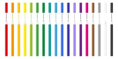 set van cartoon vectorillustraties met gekleurde viltstiften op witte achtergrond. vector