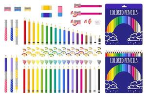 set van cartoon vectorillustraties met kleurpotloden, puntenslijper en gum op witte achtergrond. vector