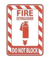 brandblusser blokkeer geen teken op witte achtergrond vector