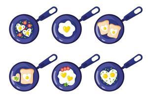 Valentijnsdagontbijt in een pan-toast, roerei, hartvormige omelet. vector