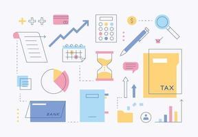 belastingactiva zakelijke icoon collectie. haarlijn en kleurencombinatieontwerp. platte ontwerpstijl minimale vectorillustratie. vector