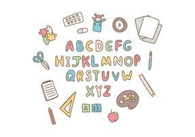 Doodled School-alfabet vector