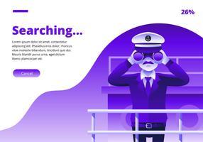Kapitein Looking In Binoculars Vector
