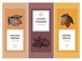 cacao verpakking ontwerpsjablonen instellen met patroon. gegraveerde stijl schets hand getrokken illustratie. cacaopoeder, bonen, noten, zaden, bloemen en bladeren vector. vector