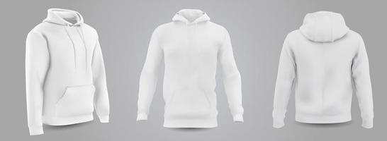 wit sweatshirt met capuchon voor heren vooraan, achteraan en zijaanzicht, geïsoleerd op een grijze achtergrond. 3D-realistische vectorillustratie, patroon formeel of casual sweatshirt. vector