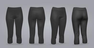 vrouwen zwarte legging mockup in voor- en achteraanzicht, geïsoleerd op een grijze achtergrond. 3D-realistische vectorillustratie vector