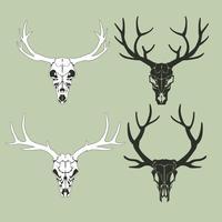 Set van een hert schedel silhouet vector