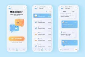 online messenger unieke neomorfe mobiele app-ontwerpkit vector