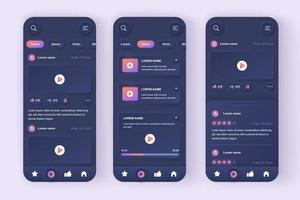 videobuis unieke neomorfe mobiele app-ontwerpset vector