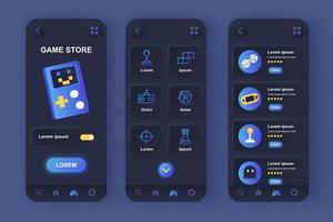 game store unieke neomorfische ontwerpset voor mobiele apps vector
