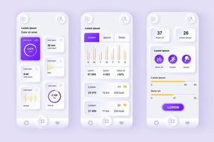 unieke neomorfische ontwerpkit voor mobiele apps voor het volgen van gezondheid en activiteiten vector