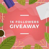 Platte bloemen en stuff Instagram wedstrijd giveaway sjabloon vector achtergrond