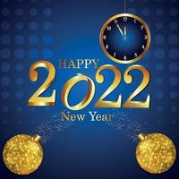 gelukkig nieuwjaar uitnodiging wenskaart met wandklok met gouden teksteffect vector