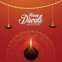 gelukkig diwali-festival van lichte vectorillustratie met diyaolielamp vector