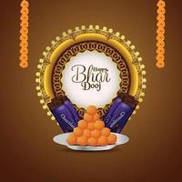 gelukkige bhai dooj-achtergrond en creatieve diya vector