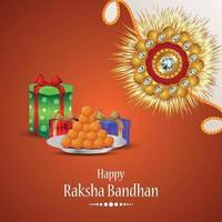gelukkig raksha bandhan indian hindoe festival met creatieve kristallen rakhi en geschenken vector