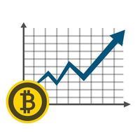 zakelijke bitcoin concept groeigrafiek op grafiek achtergrond. vector illustrator