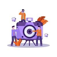 platte vectorillustratie van fotograaf bereidt apparatuur voor en neemt professioneel een foto van het model vector