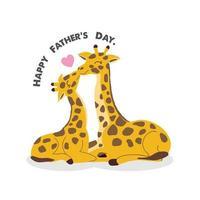 vaderdagkaart met giraffen. giraffe vader kussende baby giraffe. vector