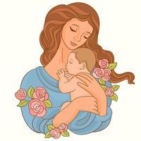 moeder met baby in haar armen vector