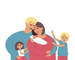 groot gezin met drie kinderen vector