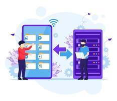 concept van back-upgegevens, mensen die bestanden kopiëren of bestanden overbrengen op een gigantische smartphone naar de server. vector illustratie