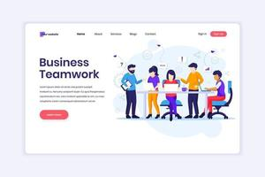 bestemmingspagina-ontwerpconcept van zakelijk teamwerk, mensen die aan tafelvergaderingen werken en het co-working-kantoor. vector illustratie