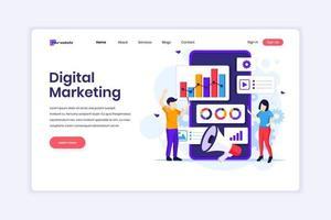 bestemmingspagina ontwerpconcept van digitale marketing, mensen met grafische grafieken en gigantische smartphone. vector illustratie