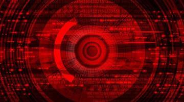 abstracte cyber hi-tech oogtechnologieachtergrond, camerabeveiliging en robotconceptontwerp, vectorillustratie. vector