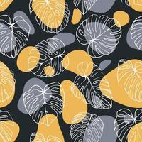 monstera deliciosablad met abstract vorm naadloos patroon. perfect voor textiel, stof, achtergrond, print vector
