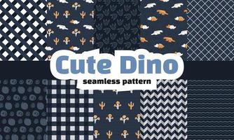 verzameling van dinosaurus naadloos patroon. premium vector