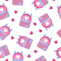 naadloze patroon van schoolrugzak met hart voor de bruiloft of Valentijnsdag. vector