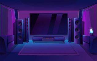 thuisbioscoop met grote muziekluidsprekers. game room interieur. nacht appartement. groot tv-scherm. vector illustratie.