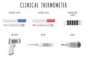 set van cartoon vectorillustraties van medische diagnostische apparaten voor het meten van temperatuur thermometers op een witte achtergrond vector