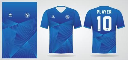 blauwe sport jersey sjabloon voor teamuniformen en voetbalt-shirtontwerp vector