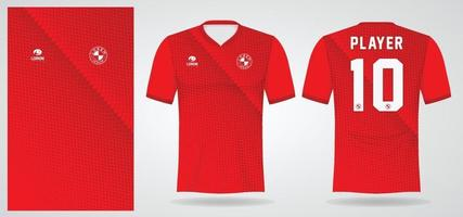rode sportjersey sjabloon voor teamuniformen en voetbalt-shirtontwerp vector